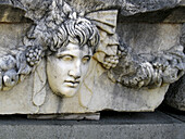 Close-up of carving on Sarcophagus.Aphrodisias,  Turkey