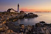 America, Coast, Color, Colour, Head, House, Landscape, Light, Maine, New england, Ocean, Portland, Rocks, scenic, Sea, Sunrise, United states, S19-830130, agefotostock