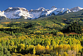 San Juan Mountains Fall colors and alpenglow on Mt Sneffels