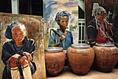 Akha, Art, Asia, Asian, Display, Gallery, Minority, Paintings, S, Show, Sitting, Thailand, Tribe, T91-811137, agefotostock