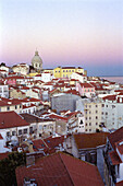 View on Alfama Quarter with National Pantheon of Santa Engracia in Background from Largo das Porta do Sol Viewpoint Lisbon Portugal