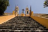 Atrium, Catholicism, Cholula, Church, Civilization, Colonial, Colonial architecture, Color, Colour, Conquest, History, Horizontal, Landscape, Mexico, Over, Piramid, Prehispanic, Puebla, Spanish, Stairs, The, V03-839637, agefotostock