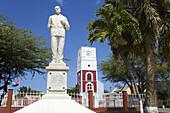 Statue of Jan Hendrik Albert Eman & Fort Zoutman,  Oranjestad City,  Aruba,  Caribbean