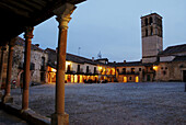 Main Square and church from the arcade Night view Pedraza Segovia province Castile Leon Spain