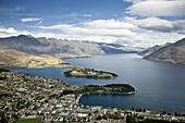City center area of Queenstown,  South Island,  New Zealand  This is a popular snow skiing area and summer resort for vacationers  Also popular for other adventure sports such as parasailing and bungy jumping