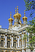 Russia,  Pushkin,  located in the town of Tsarskoye Selo,  (near St Petersburg),  Catherine´s Palace with golden onion domes above