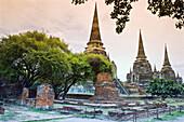 Three Chedis Stupas,  Wat Phra Si Sanphet Ruins of old capital city Ayutthaya,  Thailand