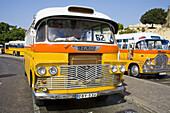 Public transport bus,  parked at the bus terminus,  Valletta,  Malta