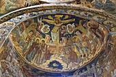 The Naos of the Church of St Nicholas of the Probota Monastery,  Wall painting representing the Crucifixion,  South Bucovina,  Moldavia,  Romania,  UNESCO World Heritage