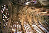 Vault,  main nave of cathedral,  Leon. Castilla-Leon,  Spain