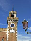Bust, Clock, Flag, Italy, Lamp, Statue, Street, Tower, Venice, XK5-854280, agefotostock