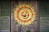 America, Barn, Bright, Cedar, Color, Colour, Decor, Decoration, Florida, Gulf, Gulf of mexico, Key, Metal, North America, Painted, Sun, Sunburst, Tin, United States, United States of America, Usa, USA, Wall, Wood, Wooden, Yellow, XL6-834480, agefotostock