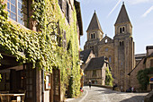 France,  Midi Pyrenees,  Aveyron,  Conques St Foy Abbey The village is built on a hillside,  with narrow Medieval streets The Sainte Foy Abbey Church was a popular halt for pilgrims on their way to St James of Compostela