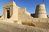 historic adobe fortification Al Khandaq Fort or Castle,  Buraimi,  Al Dhahirah region,  Sultanate of Oman,  Arabia,  Middle East