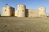 historic adobe fortification Barka Fort or Castle,  Batinah Region,  Sultanate of Oman,  Arabia,  Middle East
