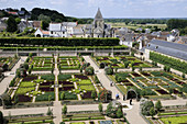 France,  Villandry 37  Decorative vegetable garden in Villandry castle gardens,  view from the top of the keep