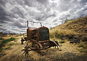 Old car body at the James Cant sheep ranch in John Day Fossil Beds National Monument