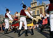 Poland Krakow Folk dance festival at Main Market Square