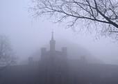 Poland,  Krakow,  Kosciuszko Mound Hill and fortification at mist
