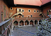 Krakow,  Oldest school in Poland,  courtyard of Collegium Maius Museum,  Jagiellonian University,  Old Town District,  UNESCO,  spring