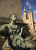 Poland Krakow,  Detail,  monument to great polish poet Adam Mickiewicz