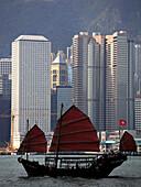 China,  Hong Kong,  traditional junk sailboat in the harbor
