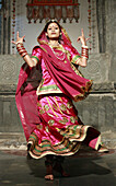 Arts, Asia, Color, Colour, Dancer, folk, folklore, India, People, Performing, Rajasthan, Rajasthani, Traditional, Travel, Udaipur, Vertical, Woman, Z71-870273, agefotostock