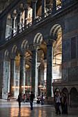 visitors inside Hagia Sophia, Istanbul, Turkey