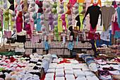 weekly market, stall selling colourful, underwear, Tarlabasi, below the Beygolu district, Istanbul, Turkey