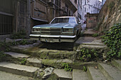 no exit, American road cruiser, in a back alley in Tarlabasi near Beyoglu, end of the road, Istanbul, Turkey
