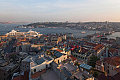 view from Galata Tower, rooftops of Karaköy, old town, harbour and mosques, Istanbul, Turkey