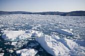 Aerial view of ice Floes and icebergs from Ilulissat Kangerlua Icefjord, Ilulissat (Jakobshavn), Disko Bay, Kitaa, Greenland
