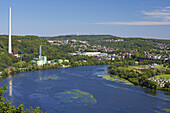 View over Lake Harkort to Ruhr viaduct, near Herdecke, North Rhine-Westphalia, Germany