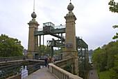 Außenaufnahme, Tag, Schiffshebewerk Henrichenburg am Dortmund-Ems-Kanal, Waltrop, LWL-Industriemuseum, Westfalen-Lippe, Nordrhein-Westfalen, Deutschland, Europa