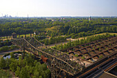 View from Blast furnace No. 5 in North Duisburg Landscape Park at water tower and St Joseph's church in Duisburg-Hamborn, Former Meiderich Ironworks, Closed down in 1985, Industrial Heritage Trail, Ruhrgebiet, North Rhine-Westphalia, Germany, Europe