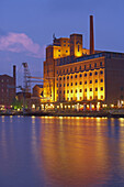 Warehouses in the evening, Inner Harbor, Duisburg, North Rhine-Westphalia, Germany
