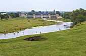 View over river Ruhr to hydroelectric power plant Raffelberg, Muelheim, North Rhine-Westphalia, Germany