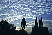 Cathedral and Hohenzollern Bridge with equestrian sculpture, Cologne, Rhine river, North Rhine-Westphalia, Germany