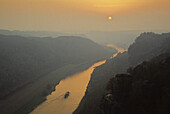 View from the Bastei towards the river Elbe at sunset, Elbe sandstone mountains, near Dresden, Saxony, Germany