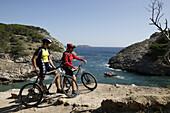 Biking in the bay of Paguera, Mallorca, Balearic Islands, Spain