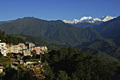 View at the Kangchenjunga mountain from the town of Pelling, Sikkim, Himalaya, Northern India, Asia