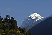 View at Mount Pandim in the sunlight, Trek towards Gocha La in Kangchenjunga region, Sikkim, Himalaya, Northern India, Asia