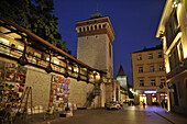 City gate and fortification in the evening, Barbakan, Krakow, Poland, Europe