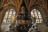 View at statues and stained glass windows inside Wawel cathedral, Krakow, Poland, Europe