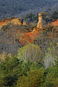 Forest and coloured ochre quarry, Luberon, Rustrel, Provence, Frankreich, Europe