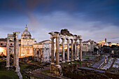 View from Piazza del Campidoglio towards the Temple of Saturn and Arch of Septimius SeverusRoman Forum, Rome, Italy, Europe