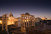 View from Piazza del Campidoglio towards Temple of Saturn and arch of Septimius Severus, Roman Forum, Rome, Italy, Europe