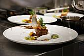 Fish and meat dish, restaurant Epoca, Hotel Waldhaus, Flims, Canton Grisons, Switzerland