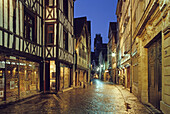 Alley in the old town in the evening, Rue Damiette, view to the church Saint Ouen, Rouen, Normandy, France, Europe