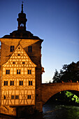 Old city hall and bridge over the Regnitz river, Bamberg, Upper Franconia, Bavaria, Germany